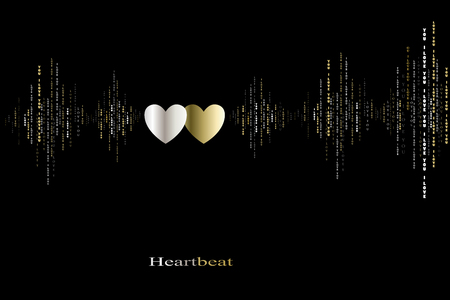 rhythms: Fall in love two hearts beats cardiogram design. Vertical sound waves rhythms with i love you text. Black gold valentines love card background Hearts in love song design background Vector illustration