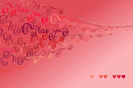 Love Valentines background. Red handwritten I love you words and hearts shapes gust design background. Curl typography design. Handwritten blow letters on light red background. Vector illustration
