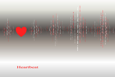 sound card: Fall in love silver heart beat cardiogram design. Vertical sound waves rhythms with i love you text. Silver valentines love card background Red heart in love song design background Vector illustration Illustration