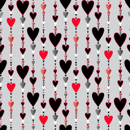 beads: Hearts seamless pattern. Striped love Valentines background  Red, black, silver vertical beads line pattern background. Red silver hearts background. Hearts beads chainlet design. Vector illustration