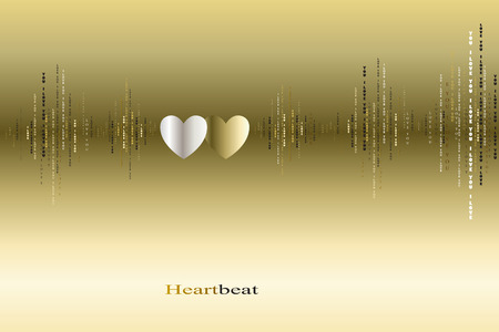 love song: Fall in love two gold silver hearts beats cardiogram design. Vertical sound waves rhythms with I love you text. Valentines love card background. Hearts in love song vector design background Illustration
