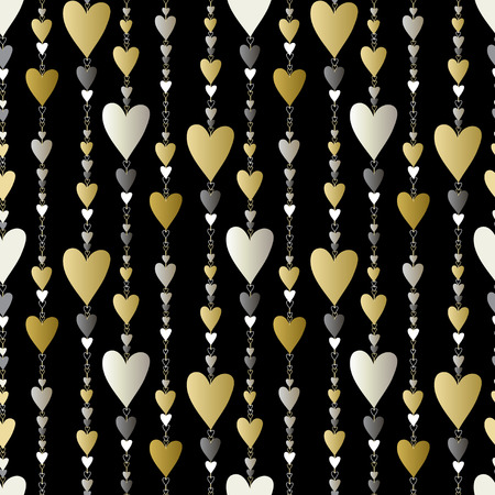 chainlet: Hearts seamless pattern. Striped love Valentines background  Golden silver vertical beads line pattern background. Gold pearl hearts background. Hearts beads chainlet design. Vector illustration