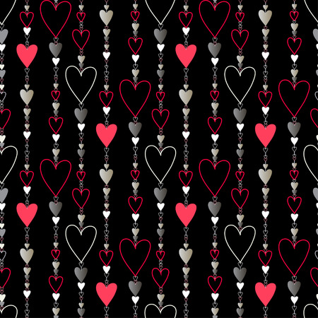 chainlet: Hearts seamless pattern. Striped love Valentines background  Red, black, silver vertical beads line pattern background. Black silver hearts background. Hearts beads chainlet design Vector illustration