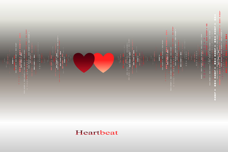 love song: Fall in love two red silver hearts beats cardiogram design. Vertical sound waves rhythms with I love you text. Valentines love card background. Red hearts in love song vector design background