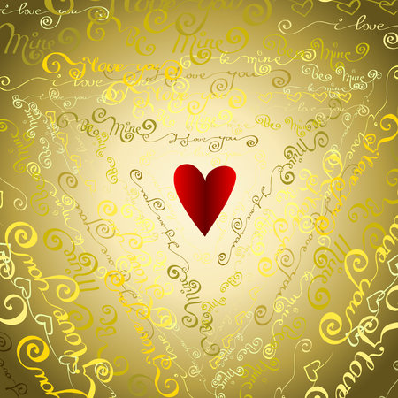 gold mine: Love card. Valentine day background. Golden handwritten I love you, be mine - words triangle shape background. I love you typography design and red heart. Gold vector handwritten letters background