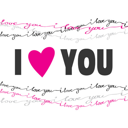 boyfriend: Valentine love card. I love you greeting poster. Pink, gray, black handwritten I love you text border frame on white background. Red heart shape, I love you text. Handdrawn romantic card. Vector card
