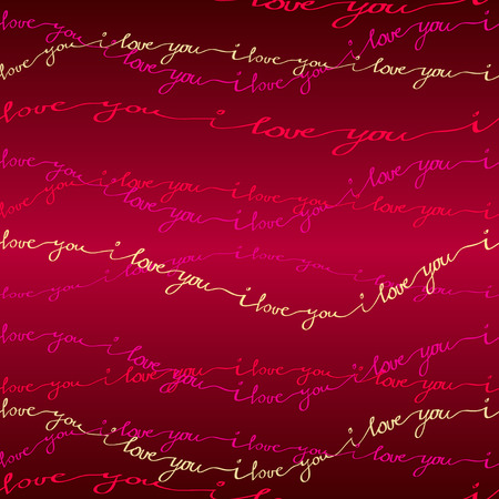 love couples: Valentine love card. I love you text seamless pattern background. Pink, red, gold handwritten I love you text line border on red background. Hand drawn romantic background. Vector illustration. Illustration