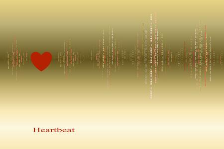 caes: Ca�da en el amor del coraz�n del oro super� dise�o cardiograma. ondas de sonido verticales ritmos con te amo texto. oro San Valent�n amor fondo de la tarjeta. Coraz�n rojo en amor canci�n de fondo de dise�o. ilustraci�n vectorial Vectores