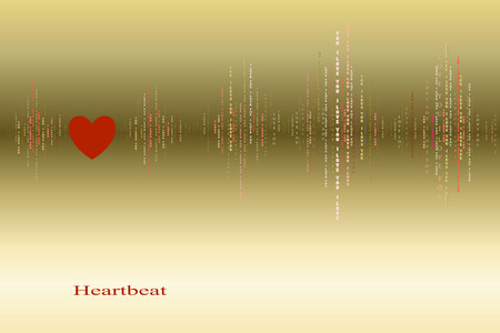 love song: Fall in love gold heart beat cardiogram design. Vertical sound waves rhythms with i love you text. Gold valentines love card background. Red heart in love song design background. Vector illustration
