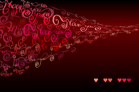 Red handwritten I love you words and hearts shapes gust design background. Love Valentines background. Curl typography design. Red handwritten blow letters on dark background. Vector illustration Illustration