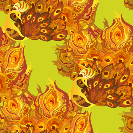 fanned: Orange yellow seamless peacock birds pattern background. Peacock birds with fully fanned tail on yellow background. Phenix golden orange feathers birds seamless pattern background. Vector illustration Illustration