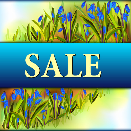 bluebell: Spring sale banner. Bluebell flowers background and sale text. Spring horizontal border design with realistic snowdrop blue flowers. Spring watercolor style and blue background. Vector illustration