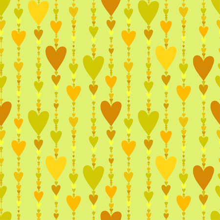 chainlet: Hearts seamless pattern. Striped love hearts background. Green yellow orange vertical heads line pattern background. Girl child pattern background. Hearts beads chainlet design Vector illustration