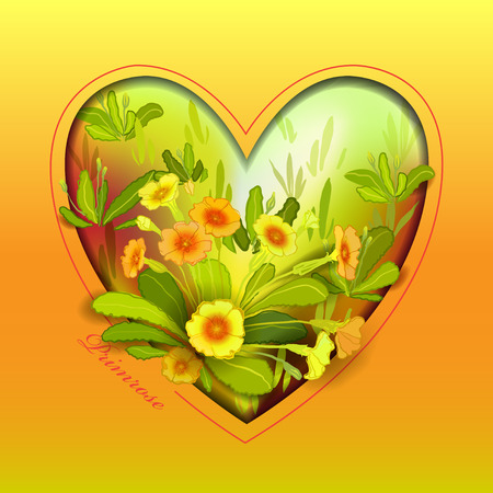 amber: Spring summer flowers. Love card. Yellow orange floral background. Heart shape frame with yellow primroses, green leaves. Forest or meadow sketch. Sunny amber watercolor background Vector illustration Illustration