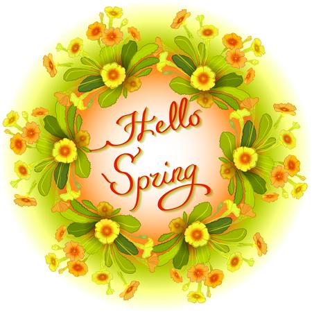 bouquet fleur: Printemps �t� couronne de fleurs, manuscrite calligraphie lettrage printemps devis bonjour. cadre de la fronti�re avec les primev�res jaunes. Jaune fond floral orange. cadre cercle floral, fond blanc isol�
