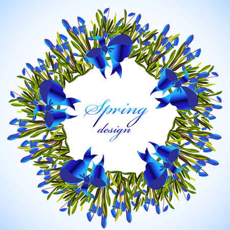 bluebell: Bluebell flowers wreath and ribbon with bow. Spring round vector frame with snowdrop blue flowers and text spring design. Spring hand drawn floral circle border on light blue background isolated Illustration