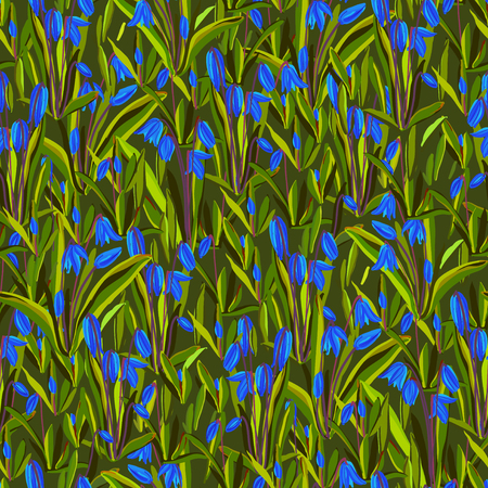bluebell: Spring seamless pattern. Bluebell meaddow flowers. Seamless floral pattern with blue snowdrop flowers on green background. Spring wrapping paper design background. Vector illustration