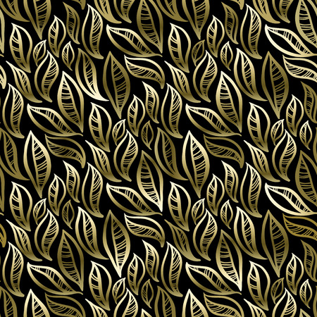 stylize: Golden and black abstract leaves pattern background. Seamless stylize floral pattern. Packing or wrapping paper design texture template. Vector illustration.