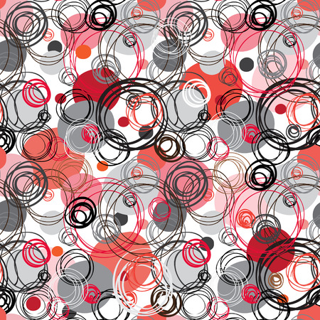fabric texture: Seamless pattern. Abstract geometric background. Black red white hand drawn intersecting outline circles elegant ornament in white background. Wrapping paper or textile fabric texture. Vector graphic. Illustration