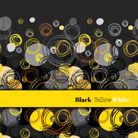 brown stripe: Abstract geometric background. Horizontal border stripe design. Black yellow brown gray hand drawn intersecting outline circles elegant ornament in black background. Vector element of graphic design.