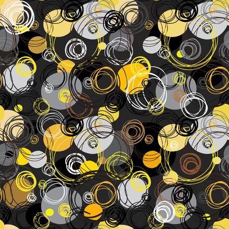Seamless pattern. Sfondo astratto geometrica. Mano nera bianco giallo disegnato cerchi contorno si intersecano in sfondo nero. imballaggi di carta da imballaggio, tessile del tessuto. Vector Graphic Design