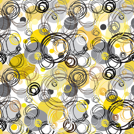 fabric patterns: Seamless pattern. Abstract geometric background. Black yellow white hand drawn intersecting outline circles in white background. Wrapping paper or textile fabric texture. Vector graphic design.