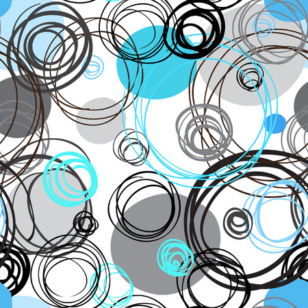 fabric texture: Seamless pattern. Abstract geometric background. White, blue, cyan, gray hand drawn intersecting outline circles in white background. Wrapping paper or textile fabric texture. Vector graphic design. Illustration