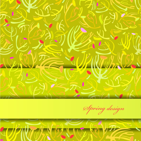 rapport: Abstract spring summer floral background. Green yellow spring twigs elegant ornament green background. Horizontal border rapport sprig pattern design Wrapping paper, textile fabric vector illustration