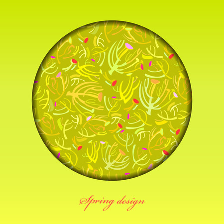 a sprig: Abstract spring summer floral background. Green yellow spring twigs elegant ornament green background. Circle frame sprig pattern design. Wrapping paper, textile fabric vector illustration Illustration