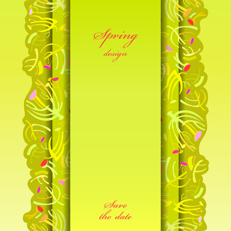 a sprig: Abstract spring summer floral background. Green yellow spring twigs elegant ornament green background. Vertical border stripe sprig pattern design. Wrapping paper or textile fabric vector illustration Illustration