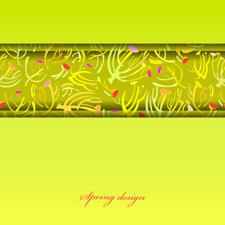 sprig: Abstract spring summer floral background. Green yellow spring twigs elegant ornament green background. Horizontal border stripe sprig pattern design Wrapping paper, textile fabric vector illustration