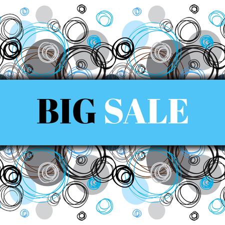 rapport: Bid sale banner. Abstract geometric background. Horizontal rapport border design. Black blue gray hand drawn elegant circles and outline rings ornament in white background. Vector graphic illustration.