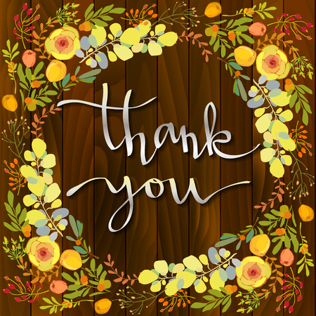 grateful: Hand drawn inspirational grateful calligraphy sign - thank you, with floral border frame on brown wooden texture background. Orange yellow peony flowers, green branches and leaves. Vector illustration