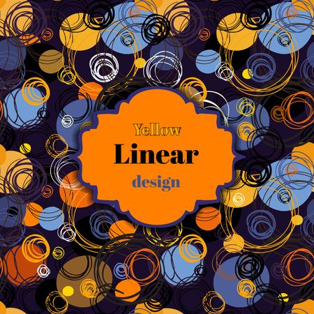 fabric label: Purple blue orange violet background. Retro orange label frame with text. Hand drawn outline circles texture pattern background. For fabric, wrapping, invitation or greeting cards design template