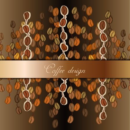 cafeteria: Coffee banner design for coffee shop menu, restaurant, cafeteria, cafe interior design. Coffee beans abstract brown gold background. Coffee seeds lines texture. Breakfast drink vector illustration