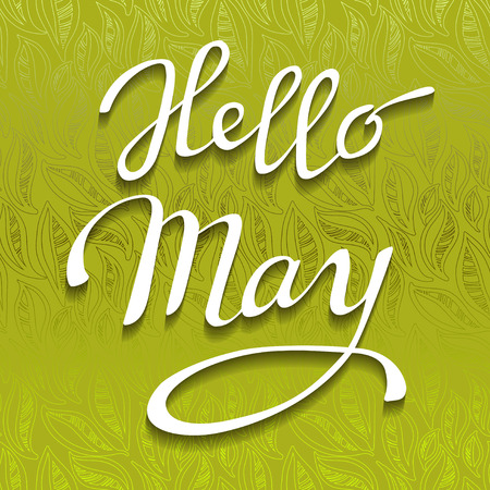 Hand drawn spring calligraphy prase - hello May. Light green abstract leaves pattern background and brush painted white letters. Greeting or invitation card. Vector illustration. Ilustrace