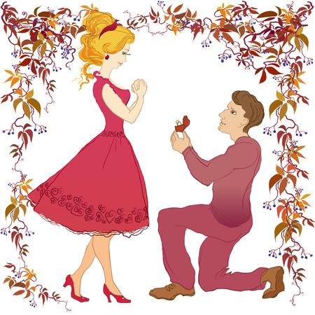 Aanzoek vector cartoon liefdesverhaal vriend en zijn geliefde. De mens maakt huwelijksaanzoek vriendin. Trouwring met diamant. Trouw met me illustratie. Gelukkig jong koppel op wit geïsoleerde Vector Illustratie