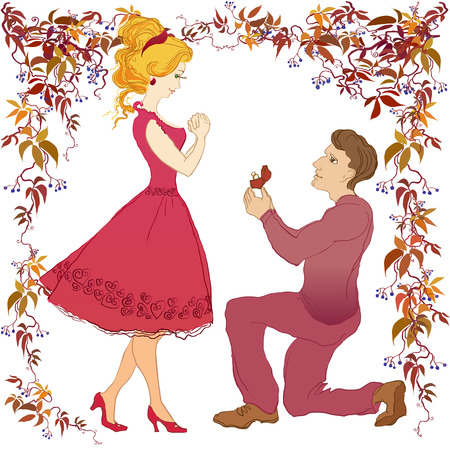 proposed: Marriage proposal vector cartoon love story boyfriend and his beloved. Man makes marriage proposal to girlfriend. Wedding ring with diamond. Marry me illustration. Happy young couple on white isolated