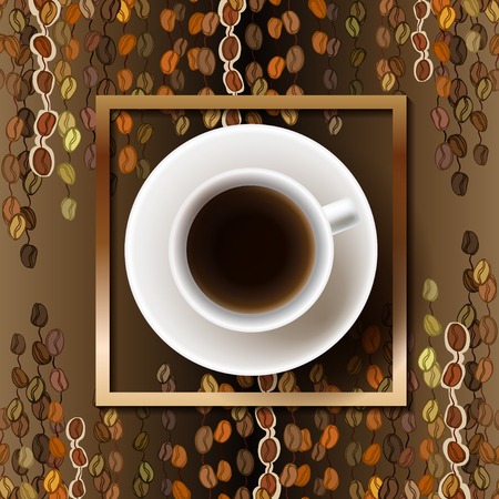 Coffee poster design with cup of hot coffee and beans lines striped texture and golden frame. Coffee banner design for coffee shop menu, restaurant and cafeteria. Brown gold vector background.