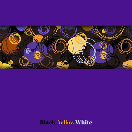 bedding: Purple geometric background with orange yellow hand drawn outline circles ornament. Horizontal border stripe pattern. Invitation design template. Wrapping or bedding fabric vector graphic design.