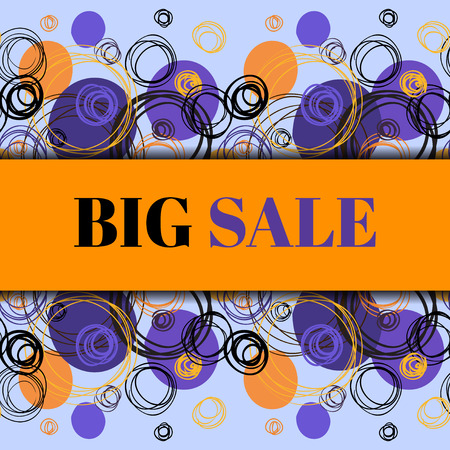 rapport: Big sale banner. Orange blue minimal abstract background. Horizontal rapport border design. Elegant hand drawn circles and outline rings ornament on light blue background. Vector graphic illustration.