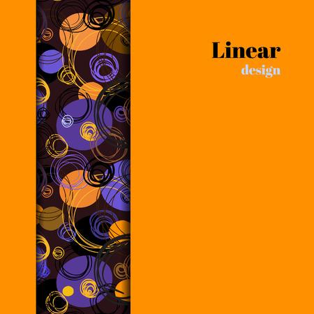 Modelo de la raya vertical con fondo frontera geométrico púrpura naranja. círculos dibujados a mano contorno ornamento. Los envases o ropa de cama de gráficos vectoriales. Invitación o tarjetas de tarjetas de plantilla de diseño