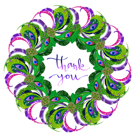 grateful: Peacock feathers wreath isolated on white background. Green purple round circle frame with handwritten calligraphy sign thank you. Grateful card. Boho style feathers elements sketch, tribal template.
