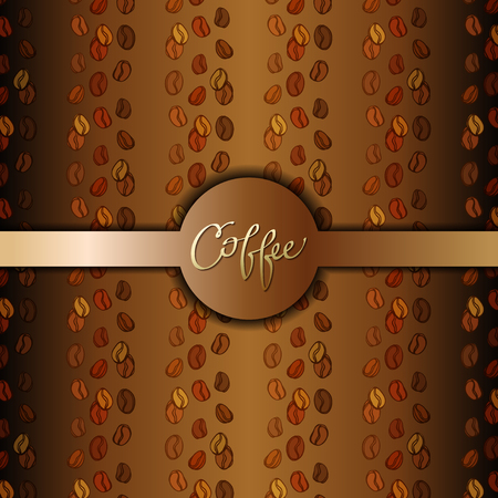 cafeteria: Coffee beans abstract brown gold background. Coffee seeds lines texture. Coffee banner design for coffee shop menu, ,restaurant, cafeteria, coffee packaging, wrapping paper design. Vector illustration