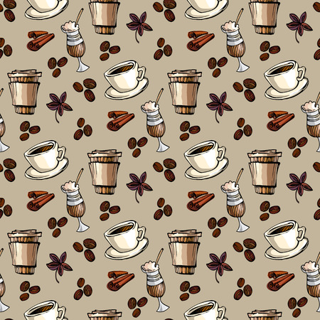 restaurant interior design: Seamless pattern background. Cup of hot espresso, coffee to go, coffee beans, cinnamon and banyan. For fabric packaging, wrapping paper, menu, coffee shop, cafeteria and restaurant interior design.