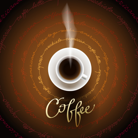 cafeteria: Coffee design with cup of hot coffee and coffee text circled texture. Coffee banner for packaging, design for coffee shop menu, restaurant and cafeteria. Coffee break brown gold vector background.
