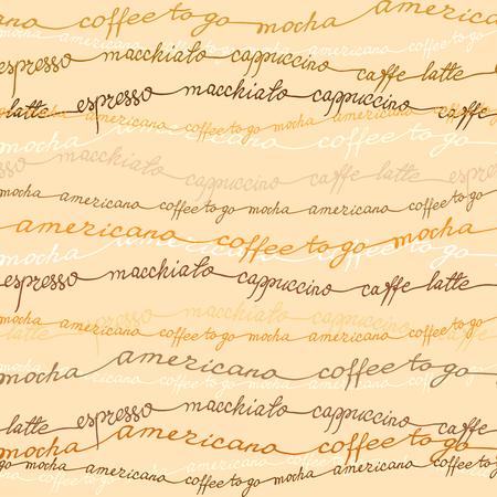Caffè senza soluzione di continuità di fondo del modello. Caffè espresso, cappuccino, americano calligrafia testo scritto a mano tessitura di progettazione per il confezionamento in tessuto, carta da imballaggio, menu di coffee shop, ristorante e caffetteria.