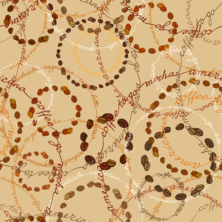 cafeteria: Coffee beans circles and coffee calligraphy circles. Seamless pattern background. Espresso, cappuccino, americano calligraphy handwritten texture, fabric packaging, wrapping paper, menu, cafeteria.