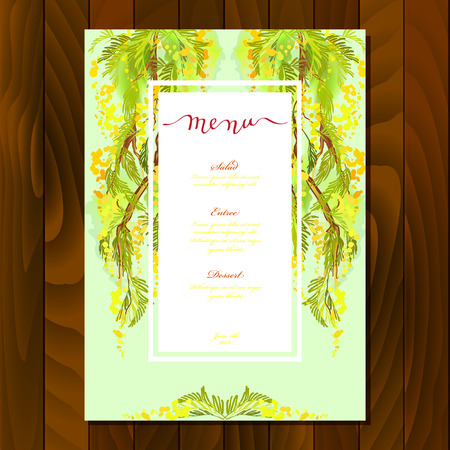 wedding reception decoration: Floral menu card with watercolor style branches and yellow flowers and leaves. Calligraphy sign menu for wedding, party birthday celebration. Vertical green floral card on wooden texture background.