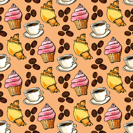 restaurant interior design: Seamless pattern background. Cup cake, croissant, coffee beans and cup of espresso. For cafeteria bakehouse, restaurant interior design, fabric packaging, wrapping paper, menu, coffee shop.